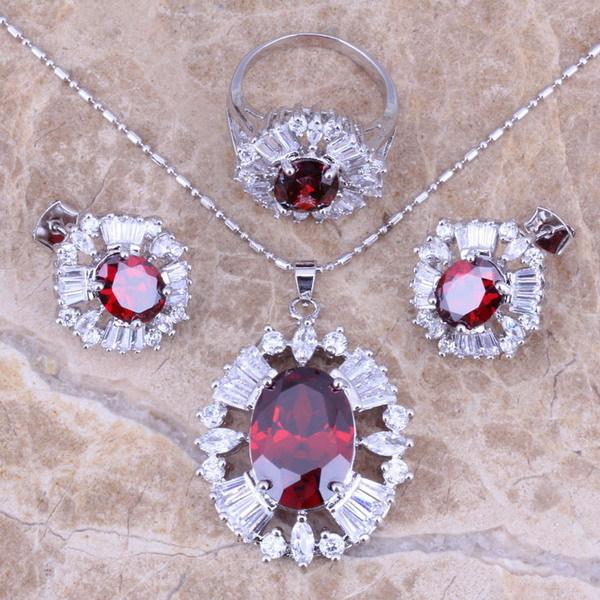 Red Garnet White CZ Silver...