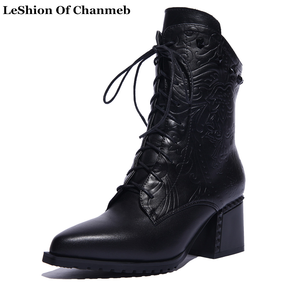 Embossing Flower Motorcycle boots for Women Lace up Thick High Heeled Booties Ladies Pointed Toe Biker