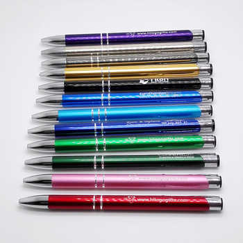 Many Colors hot selling ballpoint pens custom printed free with your logo and brand text 100pcs a lot