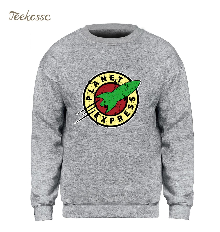 Planet Express Sweatshirt Men Cartoon Funny Hoodie Crewneck Sweatshirts 2019 Winter Spring Fleece Warm Harajuku Sportswear
