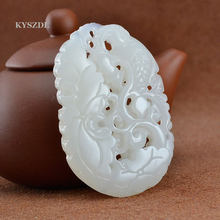 KYSZDL Natural Hand carved hollow white YU stone lotus goldfish pendant with women's pendant free necklace rope(China)