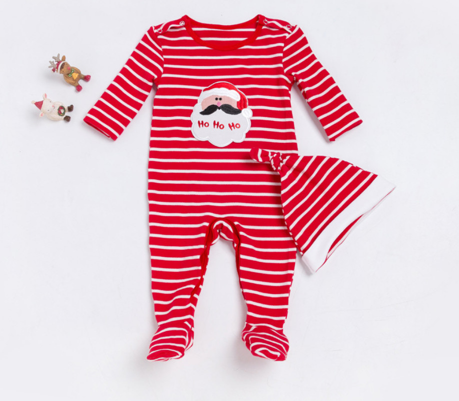 Christmas Love Baby Girl Clothes Striped Footies and Hat Clothing Sets Newborn Cute Cotton Bodysuits Party Outfits Infant Gifts