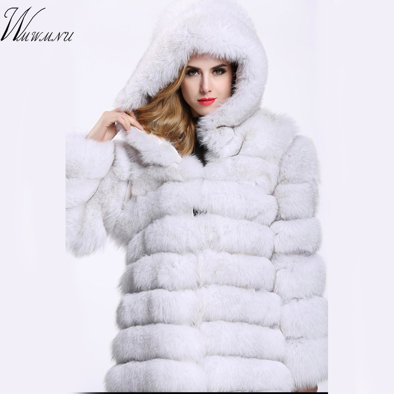 Deluxe faux fur Long coat weight 1.8kg Casual thicking long sleeve fox fur plush coat warm plus size 4xl winter Hooded fur coat