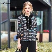 2018 Spring Runways Women Black Butterfly Print Ruffles Pearl Button Long Sleeved Shirt Tops LB194