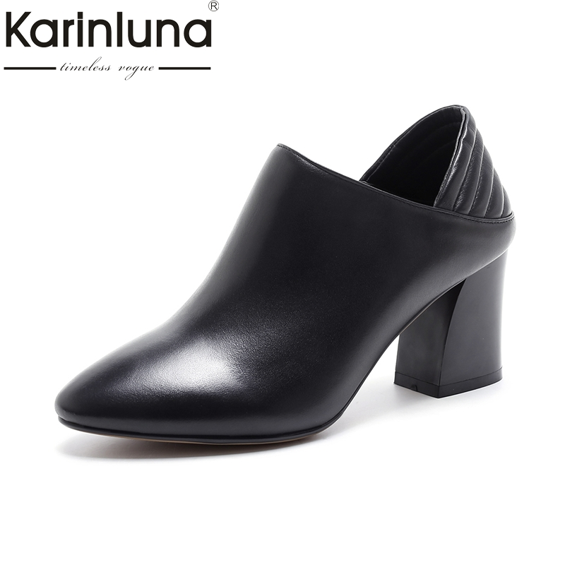 KARINLUNA genuine leather size 34-39 Women Pumps thick heels Pointed Toe Office Ladies Shoes Woman party dating fashion egonery buckle strap faux leather thick high heels fashion style ladies party shoes women s shoe plus size woman pumps