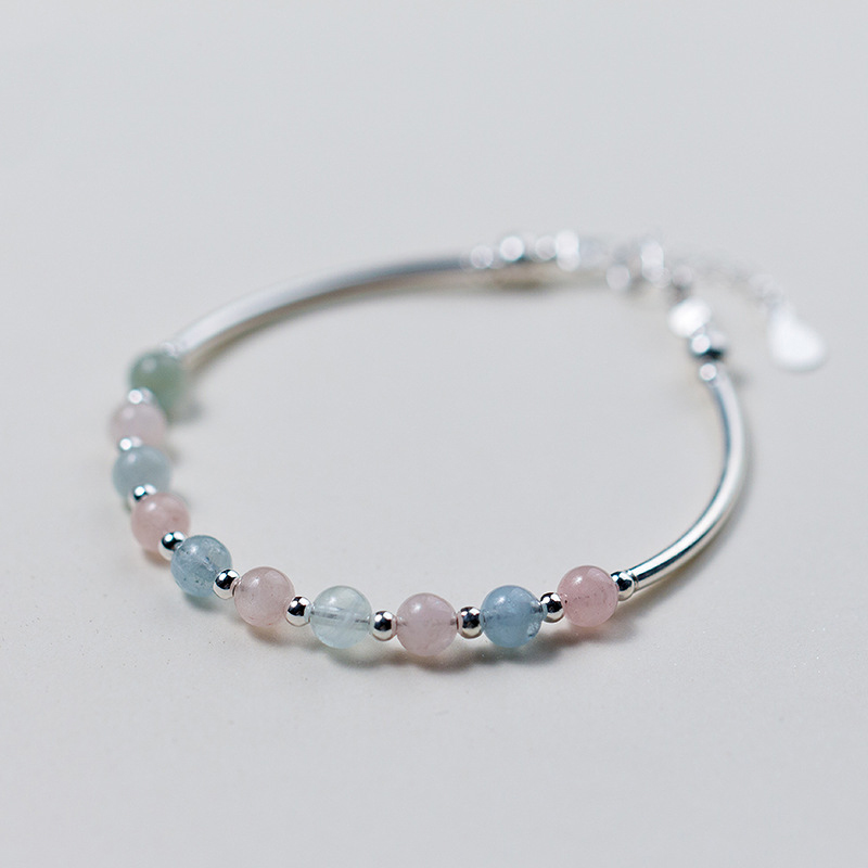 MloveAcc 925 Sterling Silver Multicolor Morganite Stone Beads Charm Bracelets for Women Girls Sterling Silver Jewelry