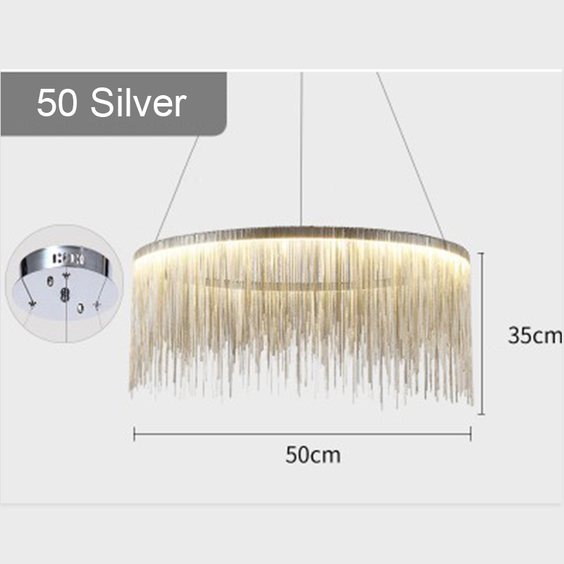 IKVVT роскошные подвесные светильники золотистого и серебряного цвета, круглые лампы с кисточками, Алюминиевый металлический корпус для гостиной, отеля, современные домашние лампы - Цвет корпуса: Dia50cm Silver