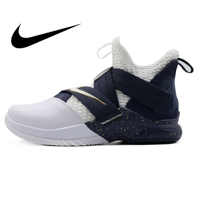 b68e64e5f64b Original New Arrival 2018 NIKE Men s Basketball Shoes Hook Loop Breathable  High-cut Durable LBJ Outdoor Sports Sneakers AO4055 - aliexpress.com -  imall.com