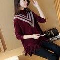 Otoño nuevas señoras de la floja versión Coreana de la capa de murciélago de la manga conjuntos de suéter de la borla suéter base YF29