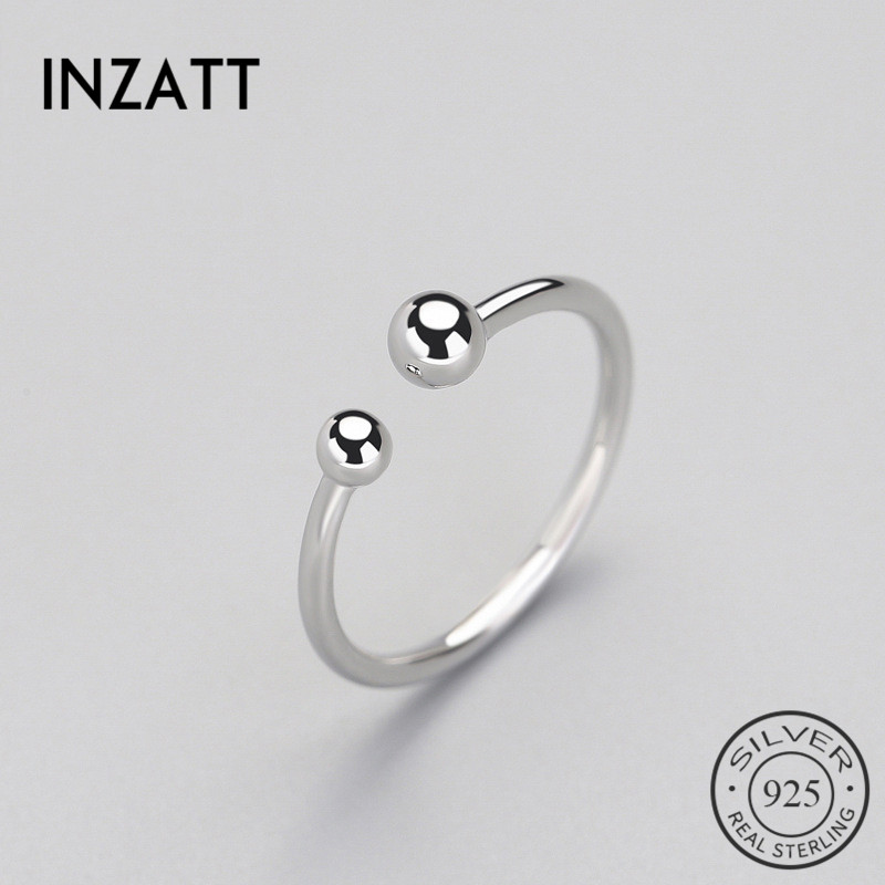 INZATT Trendy Minimalist Beads Adjustable Ring Real 925 Sterling Silver Fine Jewelry For Women Party Accessories Bijoux Gift