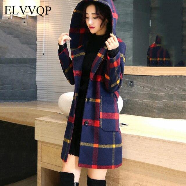 087d3f1489b Slim Korean Winter Long Wool Coat Women Plus Size Hooded Woolen Coats  Abrigos Mujer Invierno 2018 Lana Plaid Overcoat NW473