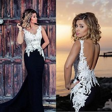 Long Black and White Mermaid Prom Dresses Sexy Backless Chiffon Lace Formal Evening Dress Graduation Party Plus size 2016