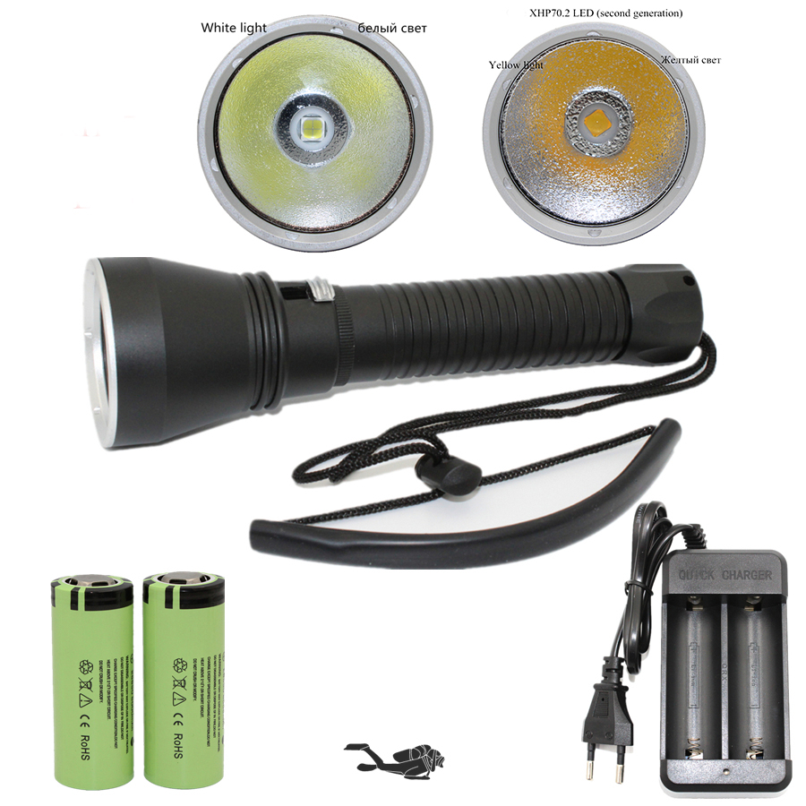 XHP70 XHP50 Diving Flashlight LED 4200 Lumens Yellow / White Light Tactical Underwater Lamp Waterproof Torch