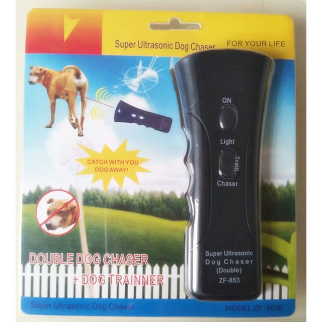 Self Defense Supplies Portable Double Super Ultrasonic Dog Chaser Stops Animal Attacks Personal Defense Infrared Dog Drive Train