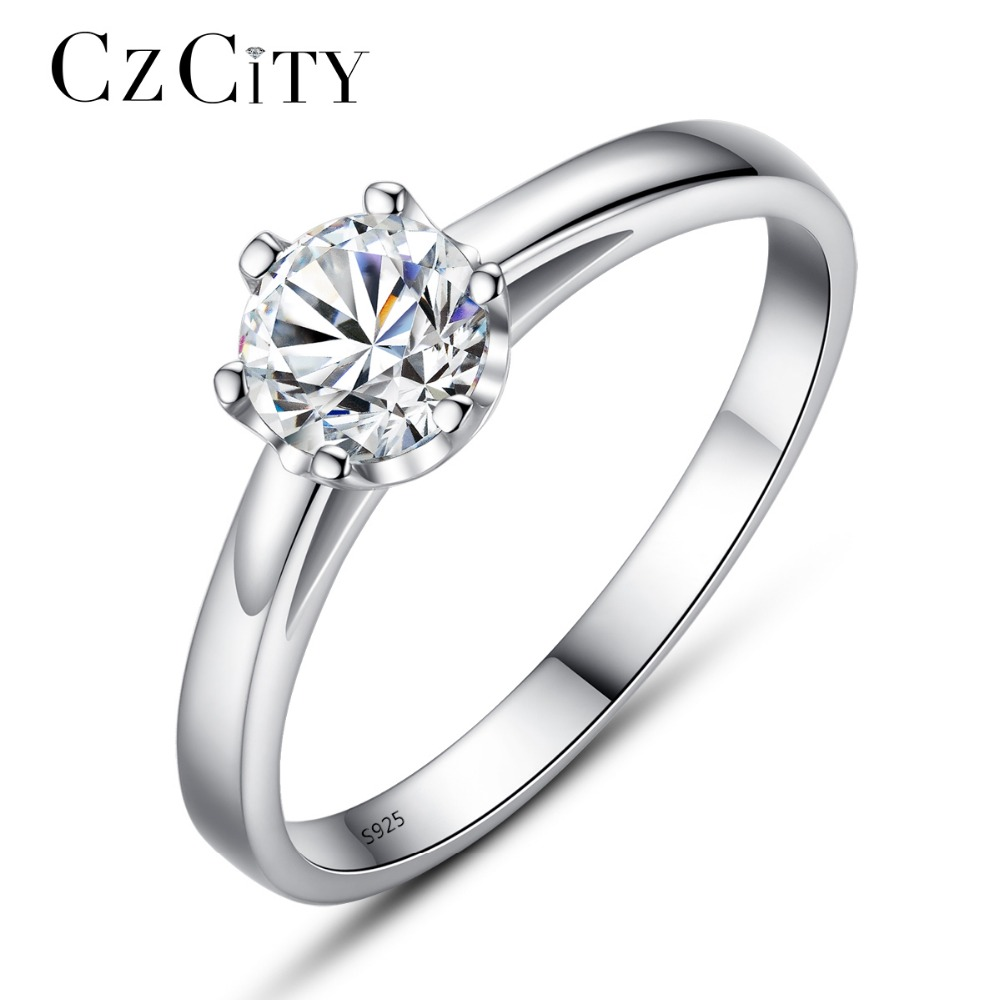 CZCITY Brand 925 Sterling Silver Women CZ Diamond Jewelry Rings Elegant Engagement Wedding Finger Ring Female Fine Jewelry Gift