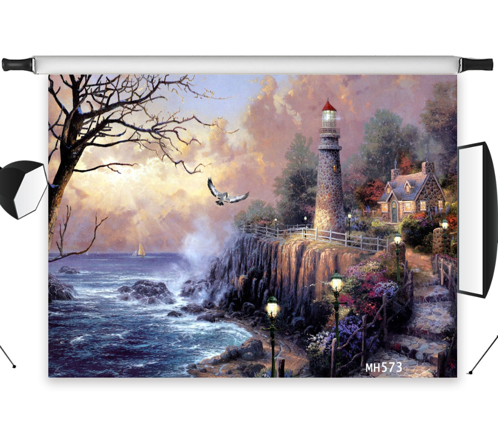 LB Polyester & Vinyl Seaside lighthouse Seagull Choppy Dreamy Studio Backdrop Photography Photo Props Photographic Background