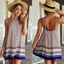2016 Fashion Sexy Women Lady Summer Holiday Boho Halterneck Chiffon Beach font b Dress b font