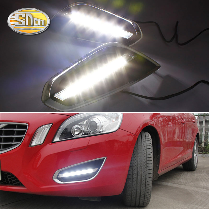 For Volvo S60 V60 2011 2012 2013,Light Off Style Relay Waterproof Matte ABS Car DRL 12V LED Daytime Running Light Daylight SNCN