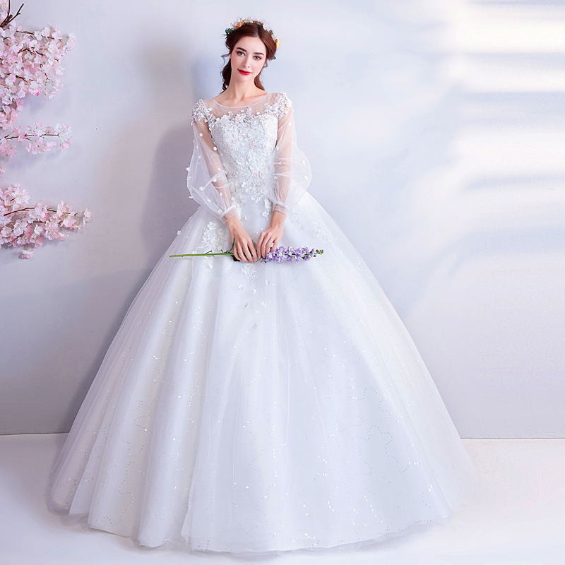 2019 New Young Mom Sweet Lace Princess Round Neck Long Sleeve Long Banquet Wedding Dress