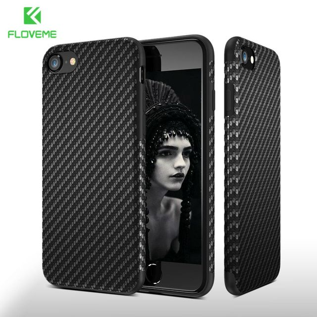 FLOVEME Carbon Fiber Case For iPhone X 7 6 6S Plus XS Max XR Phone Cases Twill Silicon Cover For iPhone 6 6s 8 7 Plus XS Shells