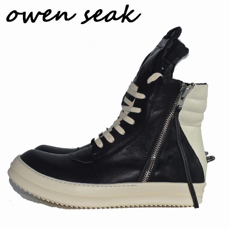 Owen Seak Men Casual Shoes High TOP Ankle Boots Genuine Leather Rivet Luxury Trainers Men Lace