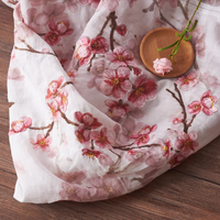 High quality ramie fabric Pink plum embroidery tissus High end clothing material