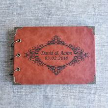 цены Rustic Leather Wedding Guestbook Custom Names Alternative Wedding Guest Book Wedding Journal Ring Binder Guest Book