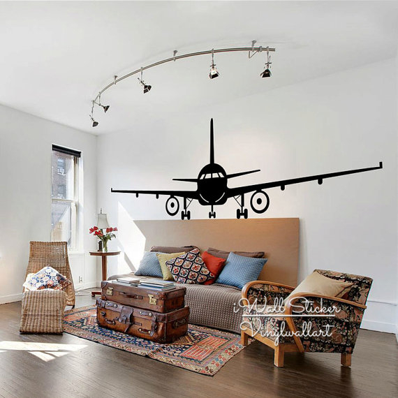 Airplane Wall Sticker Modern Airplane Wall Decals DIY Easy Wall Art  Removable Wall Decoration Modern Airplane