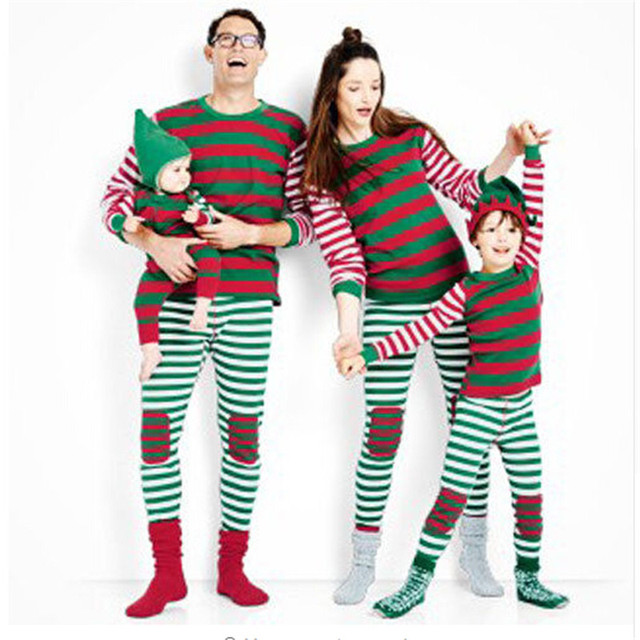 8678c9bad3 Family Matching Outfits Clothes Christmas Xmas Kids Adult Family Pajamas  Set Striped Sleepwear Nightwear Cotton Winter Costume