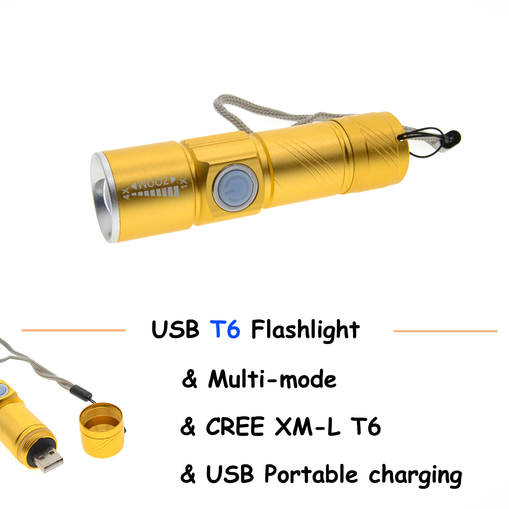 LED Flashlight USB Handy Powerful Rechargeable Torch usb Flash Light Bike Pocket LED Zoomable Lamp warsun 268 lumen mini handy led torch flash light rechargeable zoomable lamp lantern linternas flashlight for hunting zoom8