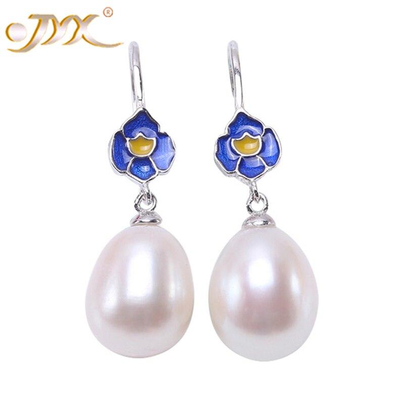 JYX Lotus Fun 925 Sterling Silver Earrings Blue Oval Real Freshwater Pearl Drop Earring Jewelrypalace 925(10*12mm White Pearls) faux pearl rhinestoned oval drop earrings