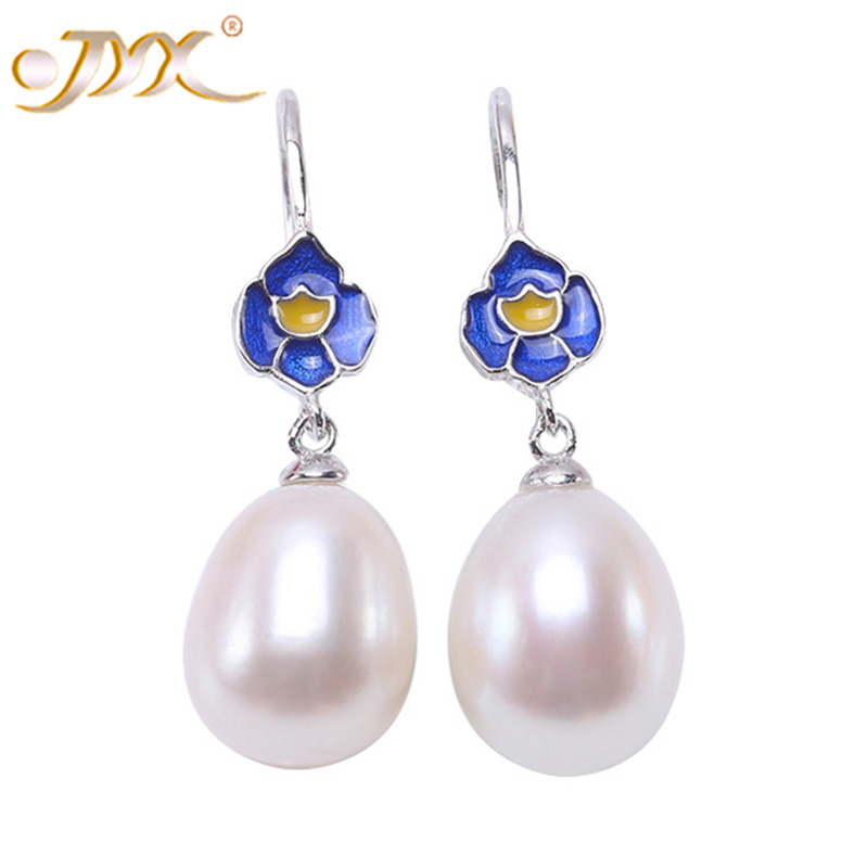 JYX Lotus Fun 925 Sterling Silver Earrings Blue Oval Real Freshwater Pearl Drop Earring Jewelrypalace 925(10*12mm White Pearls)