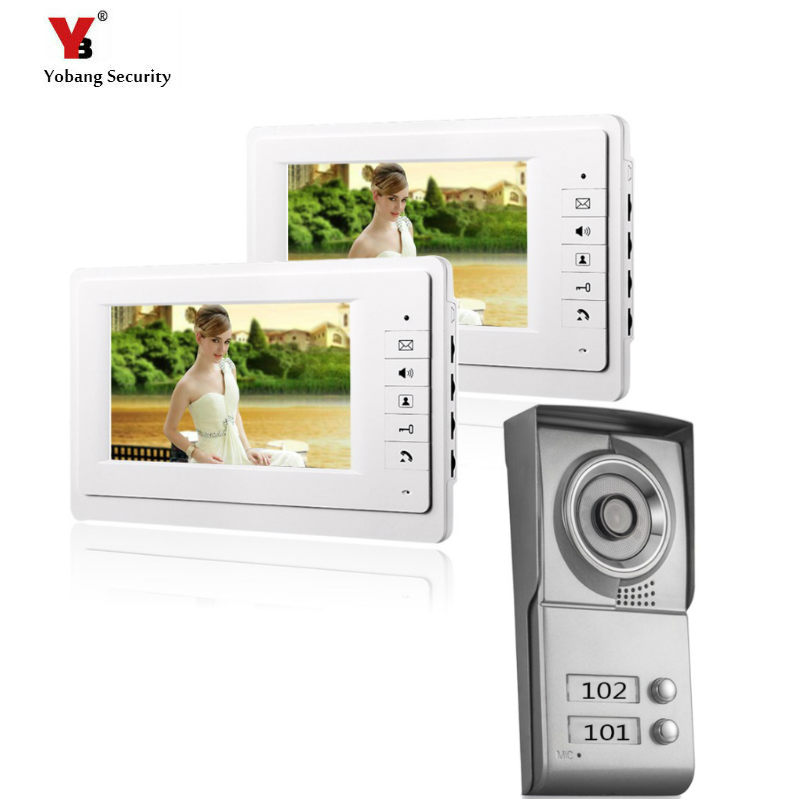 Yobang Security freeship 2 Apartment/Family Video Door Phone Intercom System 1Doorbell Camera with 2 button 2Monitor Waterproof yobang security 7 video intercom apartment door phone system 2 monitor 1 doorbell camera for 2 house family in stock wholesal