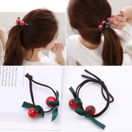 2017 New Women Red Cherry Beads Hair Tie Ribbon Bow Hairband Hair  Accessories Gum For Hair Holder Rubber Band Ponytail e38840cc018