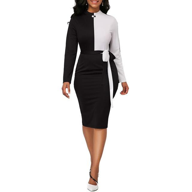 Women Color Block Long Sleeve O Neck Bandage Office Lady Bodycon Midi Dress