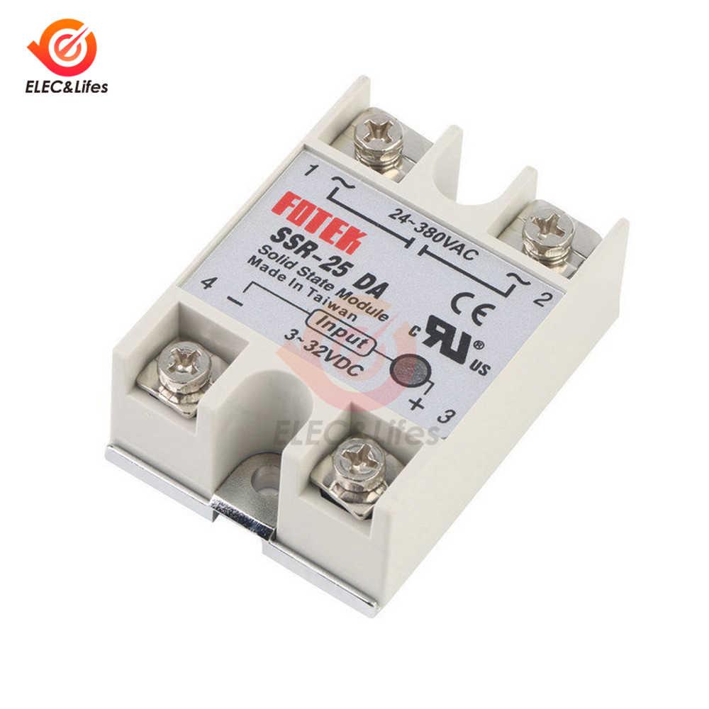 Relais à semi-conducteurs monophasé 25/40/60a, contrôle 3-32V à 24-380V AC SSR