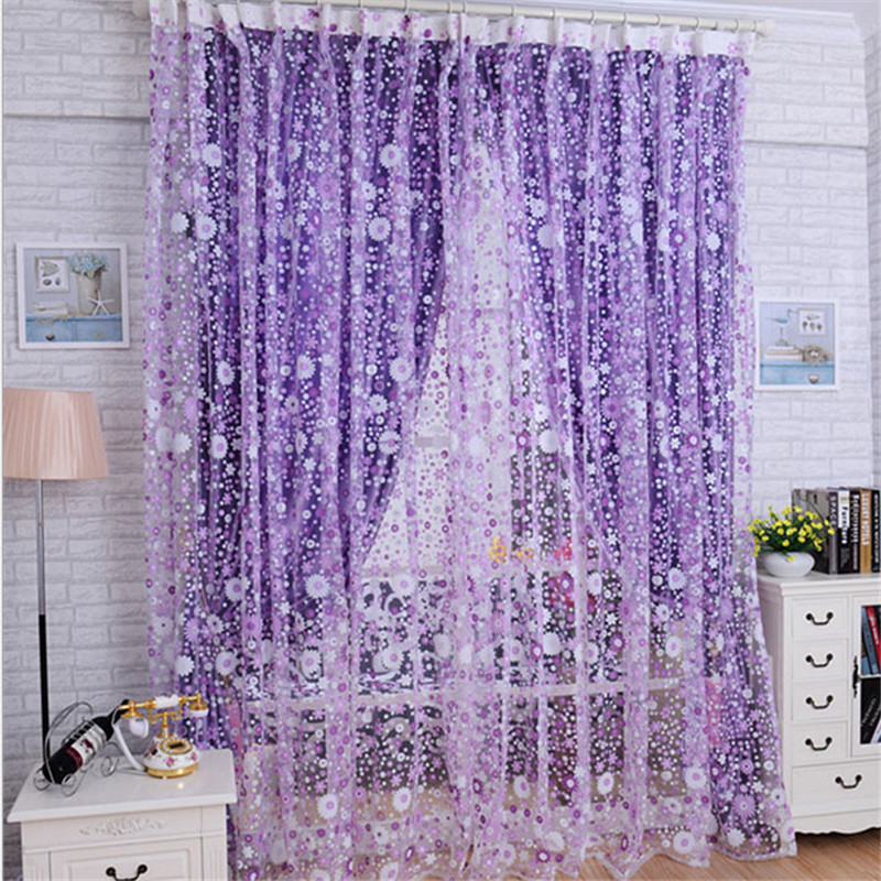 Curtains For Living Room 100X200CM Print Floral Voile Door Sheer Window Curtain Divider Free