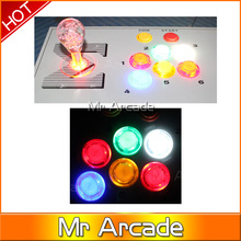 LED USB Encoder to PC Games 5Pin Rocker 16 LED Illuminated Push Buttons For Arcade Joystick