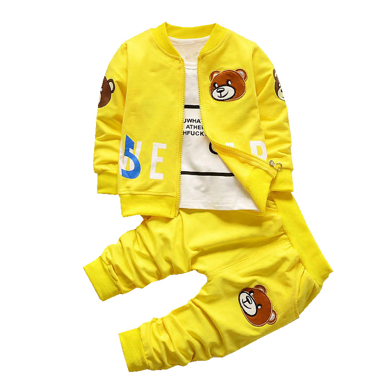 New Bear Boys Girls Clothing Sets Spring Autumn Cartoon Cotton Children Zipper Coat Tshirt Pants 3 piece Suit Kids Clothes Set 2016 new winter spring autumn girls kids boys bunnies patch cotton sweater comfortable cute baby clothes children clothing