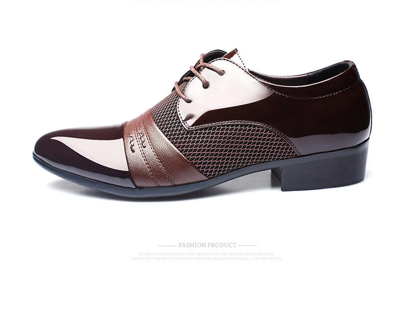 Size 38- 48 Fashion PU Leather Men Dress Shoes Pointed Toe Bullock Oxfords Shoes For Men, Lace Up Designer Luxury Men Shoes new brand designer formal men dress shoes lace up business party oxfords shoes for men pointed toe brogues men s flats plus size