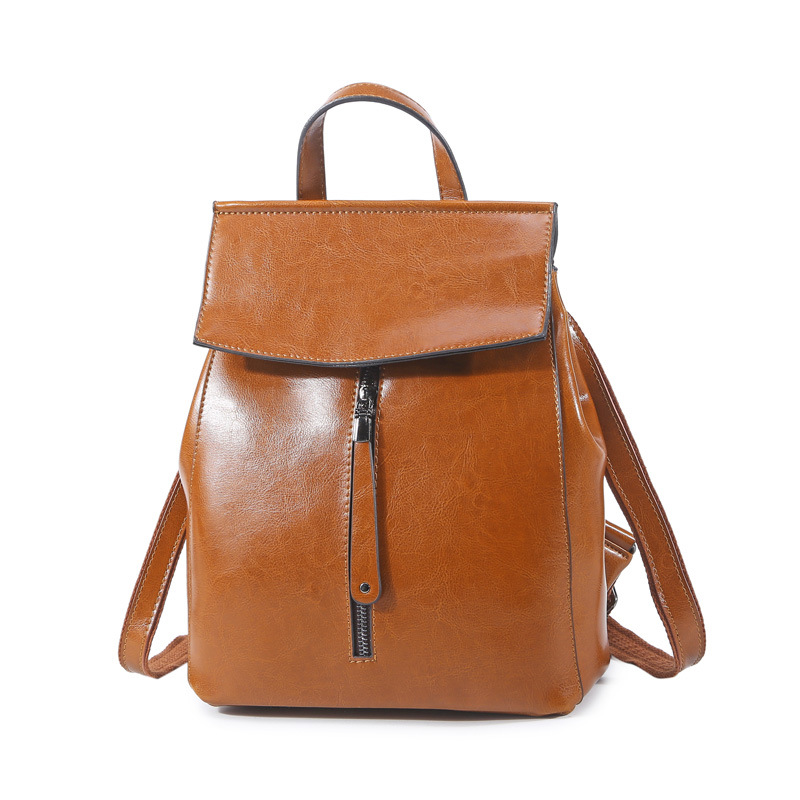 Womens Oil wax leather backpack. Genuine leather bag new South Korea Preppy style of the fashion double shoulders bag