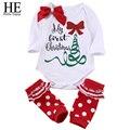 ÉL Hola Disfrutar de la Navidad del bebé recién nacido ropa 2016 ropa de invierno niña carta Ocasional + calcetines A Rayas traje de bebé conjunto