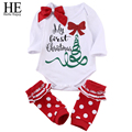 HE Hello Enjoy Christmas newborn baby girl clothes 2016 Casual baby girl winter clothes letter +Striped socks outfit baby set