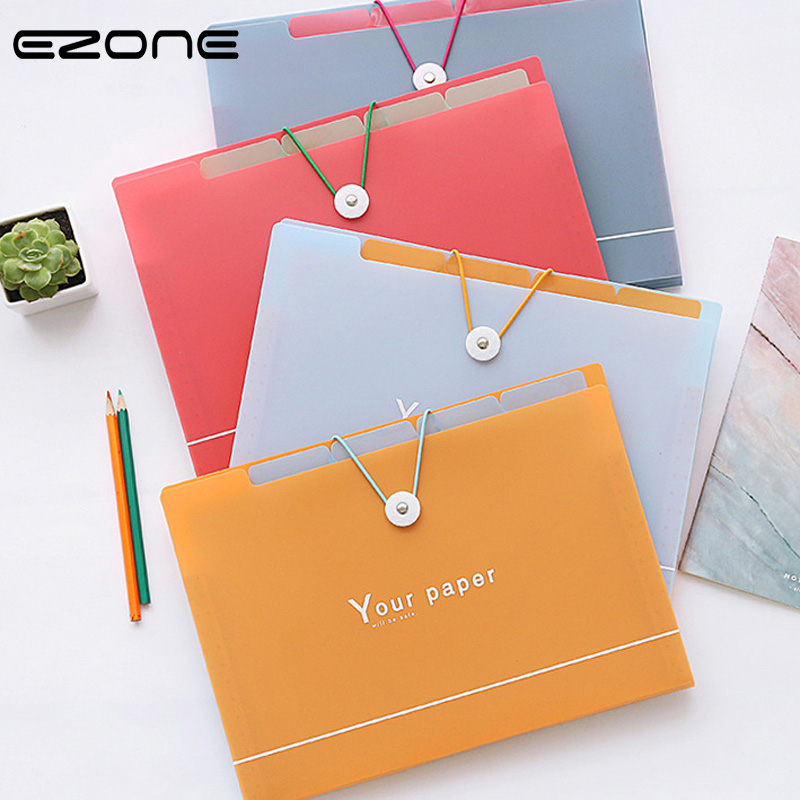 EZONE 5/8 Grid Document Bag File Folder Expanding Wallet Portable Organ Bag A4 Organizer Paper Holder Office School Supplies