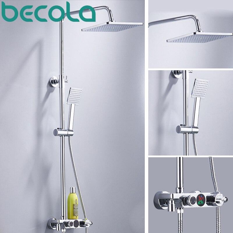 Becola thermostatique robinet de douche LCD température affichage numérique système de douche précipitations ensemble de douche mural monté B-HW018