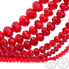 купить OlingArt 3/4/6/8/10mm Round Glass Beads Rondelle Austria faceted crystal red color Loose bead 5040 DIY Jewelry Making дешево