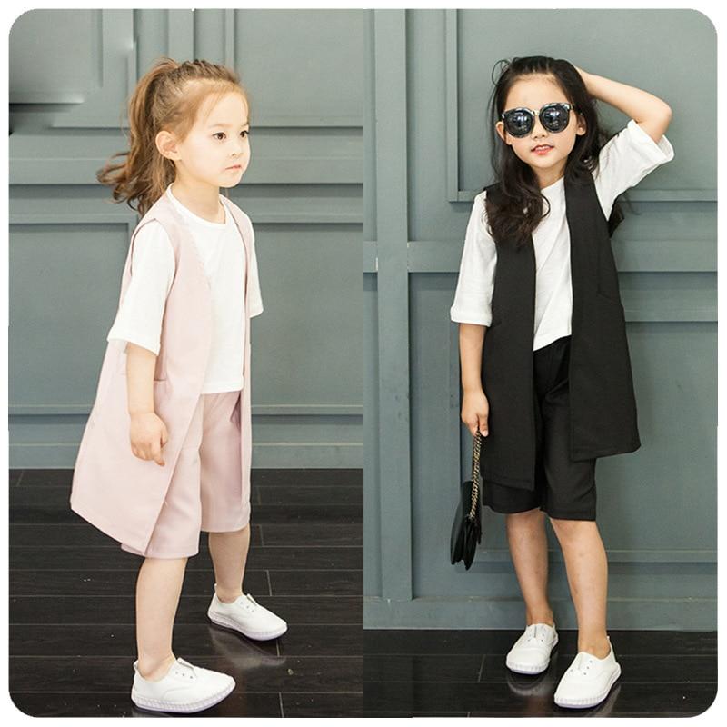 new three pieces girls set vest  t shirts  shorts kids