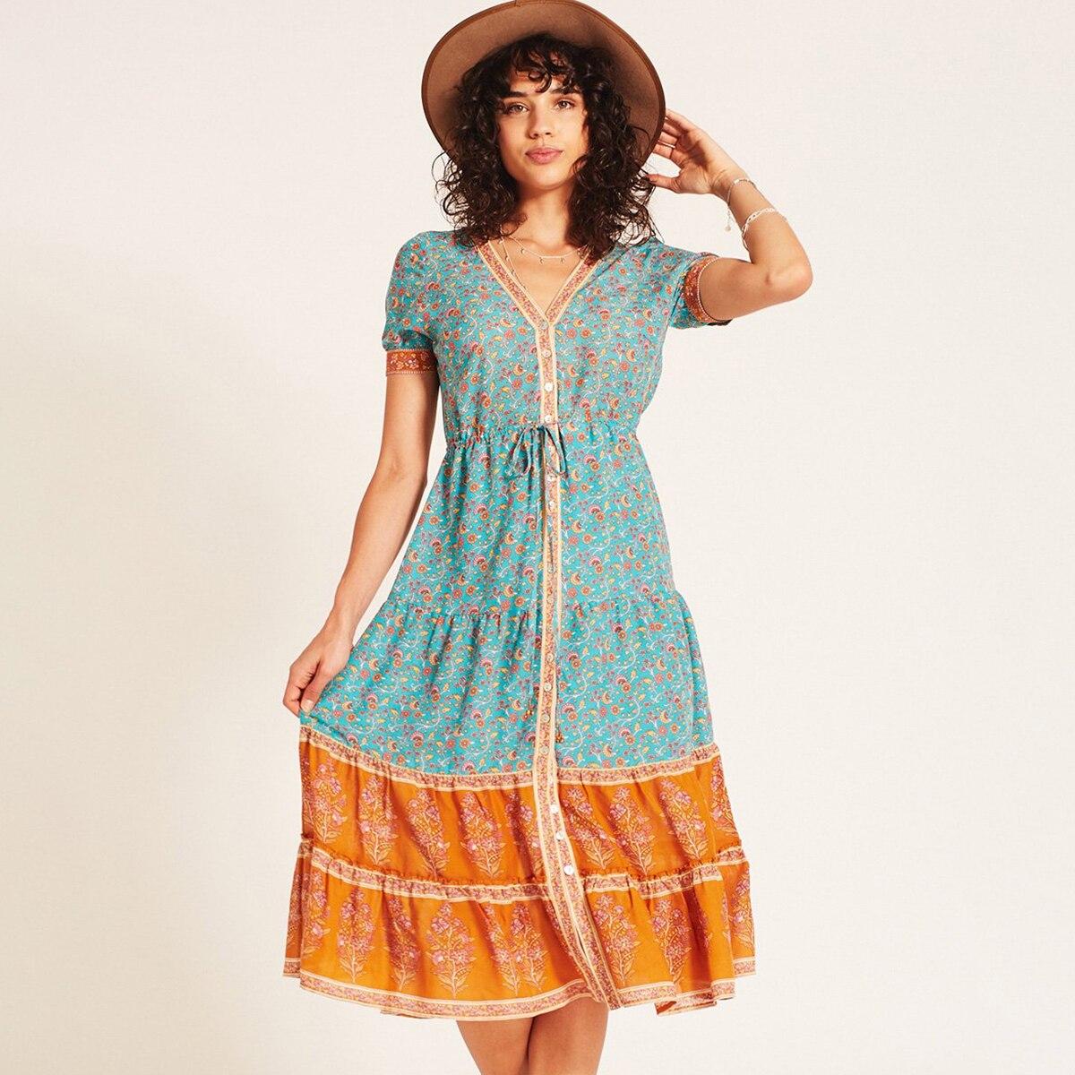 1197e518d98ce 2018 Summer Ladies Long Dress Gypsy Wisteria Floral Print Boho Midi Dress  Women V neck Single-Breasted Button Short Sleeve Dress