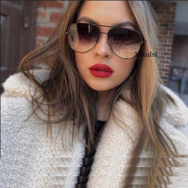 Black Gradient Sunglasses Silver Mirror Metal Sun Glasses Brand Designer Pilot Sunglasses Women Men Shades Top Fashion Eyewear