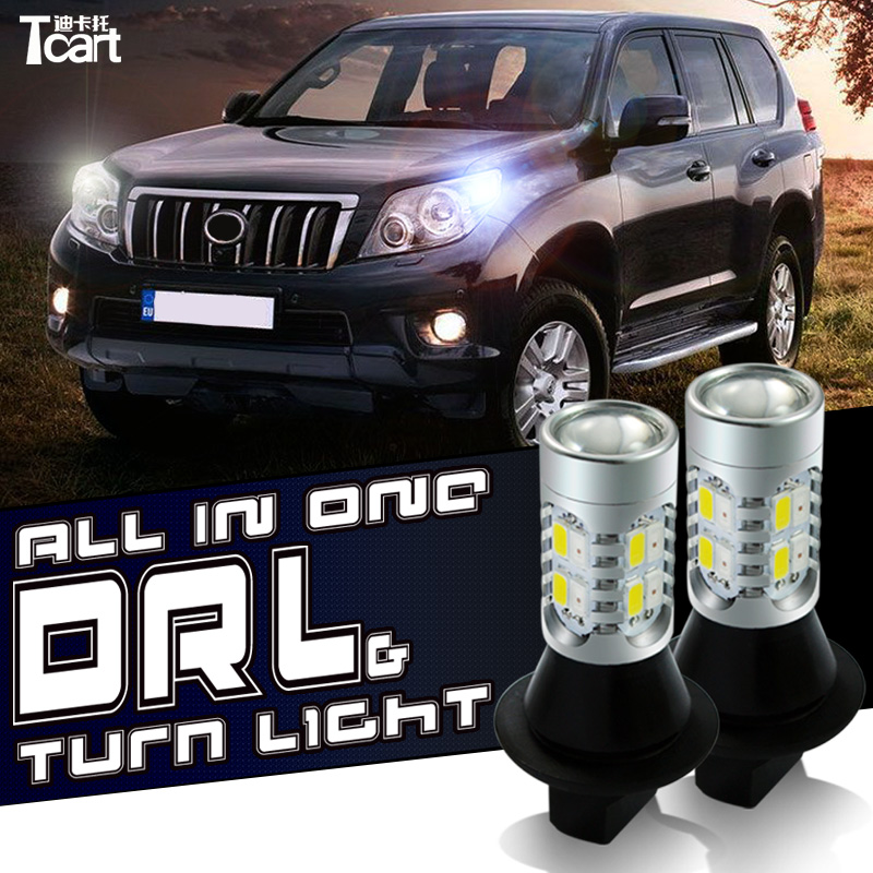 Tcart 2x Auto Led Bulbs Daytime Running Lights Turn Signals For Toyota Prius Highlander For Prado Camry Corolla T20 WY21W 7440 car led t20 7440 wy21w 1156 bau15s bay15s daytime running light